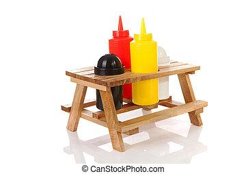 picknicken tisch, mit, salz pfeffer