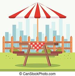 picknicken tisch, mit, schirm, draußen, szene