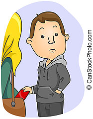 Pickpocket - Man picking Pockets with clipping path
