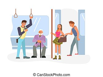 Pickpocket in Public transport - Diverse passengers using ...