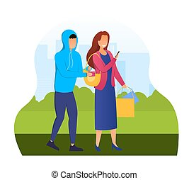 Pickpocket steal wallet from the purse. Concept of a criminal character or a bad guy stealing money. Flat cartoon vector illustration