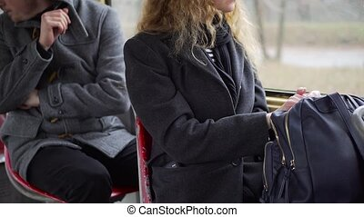 Pickpocket stealing phone from a woman's pocket in tram or bus