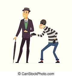 Pickpocket stealing wallet - cartoon people characters ...