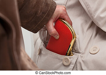 Pickpocket with wallet - A closeup of a pickpocket stealing...