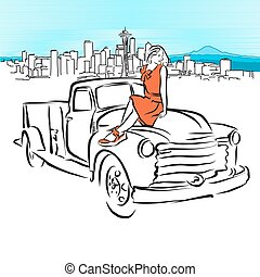 Pickup and Girl in Front of Seattle Panorama, Vector Outline...