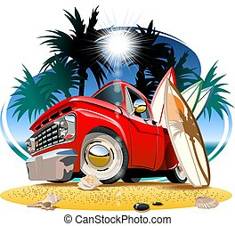 pickup, campista, caricatura, retro