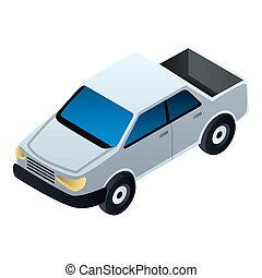 Pickup car icon, isometric style