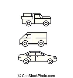 Pickup car thin line icon concept. Pickup car linear vector sign, symbol, illustration.
