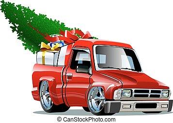 pickup, caricatura, natal