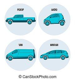pickup lastbil, microcar, godsvognen, vej, køretøj, minivan, multipurpose, automobil, vektor