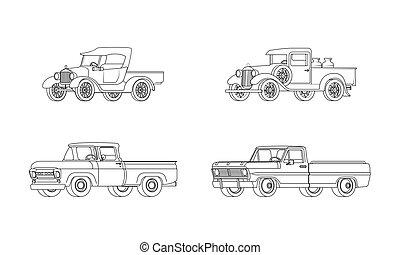pickup samochód, klasyk, projektować, wzory, zbiór