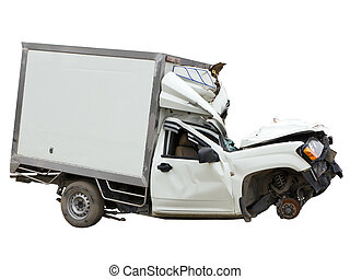 pickup truck accident isolated on white with clipping path