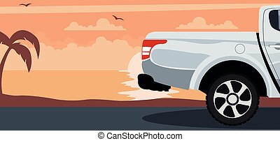 Pickup truck background on a sunset at the beach