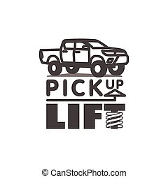 Pickup truck car logo template lift body vector illustration