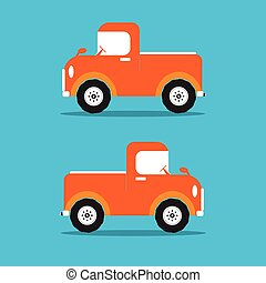 Pickup truck car orange color in flat design. Vector illustration.