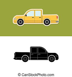 Pickup truck icon and silhouette