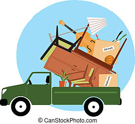 Pickup truck loaded with furniture and household objects, ready to move, vector illustration