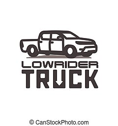 Pickup truck lowrider logo template vector illustration