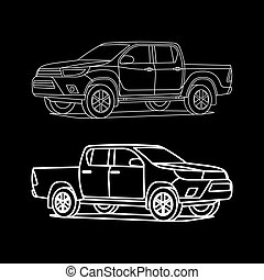 Pickup truck outline white on black background drawing vector illustration
