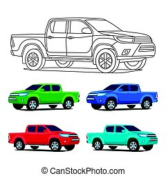Pickup truck set outline and colored vector illustration