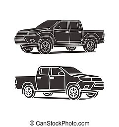 Pickup truck silhouette set outline and black icon vector illustration