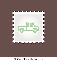 Pickup truck stamp. Outline vector illustration