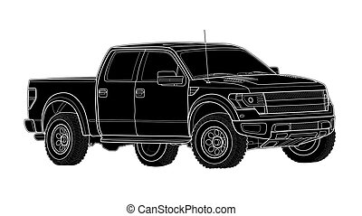 Pickup truck vector template isolated on white