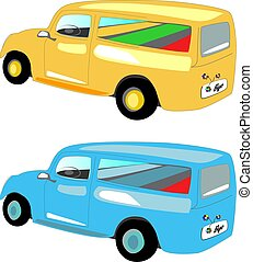 Pickup truck vehicle for traveling, retro illustration of a romantic appearance