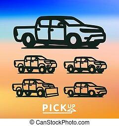 pickup, vettore, camion, illustrazione, icona