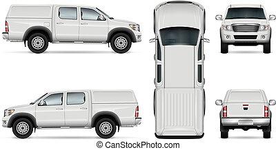 pickup, vettore, camion, sfondo bianco