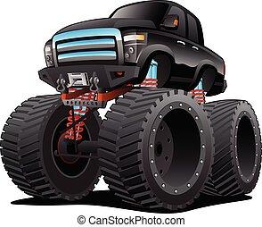 pickup, vettore, cartone animato, camion, mostro, illustrazione, isolato