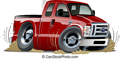 pickup, vettore, cartone animato