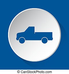pickup with a flatbed - blue icon on white button