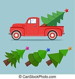pickupen, vektor, årgång, jul, lastbil, leverans, träd