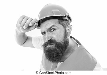 Picky inspector. Protective equipment concept. Builder crossed hands chest. Safety is main point. Man protective hard hat and uniform. Worker builder confident looking camera. Strong handsome builder