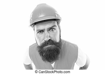 Picky inspector. Safety is main point. Man protective hard hat and uniform. Worker builder confident looking camera. Strong handsome builder. Protective equipment concept. Builder crossed hands chest