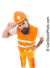 Picky inspector. Safety is main point. Man protective hard hat and uniform. Worker builder confident looking camera. Protective equipment concept. Builder crossed hands chest. Strong handsome builder