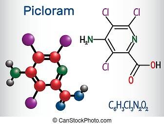 picloram, molecule., molécule, chimique, formule, modèle, structural