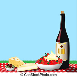 Picnic - A vector illustration depicting a picnic on a...
