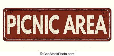 Picnic area vintage rusty metal sign