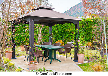 Picnic area with table