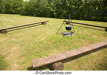 picnic area with wooden benchs - picnic area: wooden benchs,...