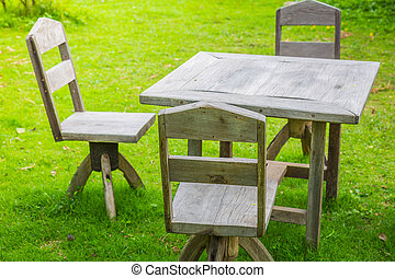 Picnic area with wooden table