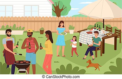 Picnic backyard. People cooking and eating grill meat in summer nature, family barbecue party. Happy men, women and children outdoor together, bbq on weekend vector cartoon concept