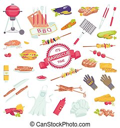 Picnic barbecue grill food set of barbeque meat accessories icons with steak, grilled sausages, salmon, fork collection vector illustration.