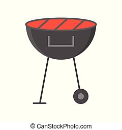 Picnic barbecue grill isolated on white background vector illustration