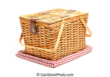 Picnic Basket and Folded Blanket Isolated on a White...