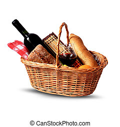 Picnic basket - basket for picnic with wine, bread, fruits ...