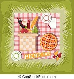 picnic basket cartoon vector illustration
