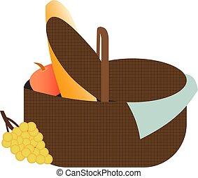 Picnic basket food bag vector illustration.